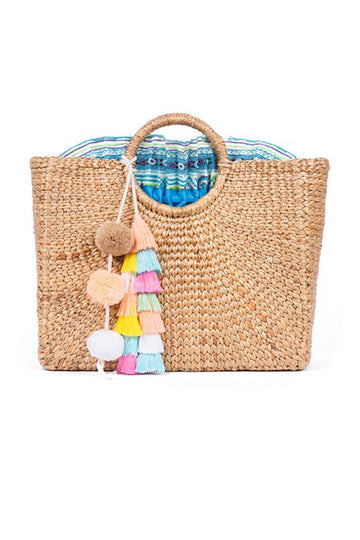 Basket Square Pastel Tassel with Blue Lining