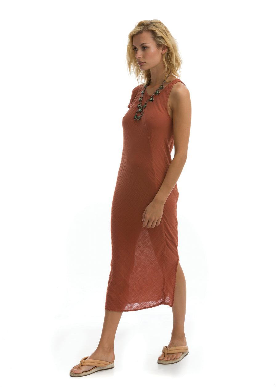Hudson Dress in Clay Cotton Gauze