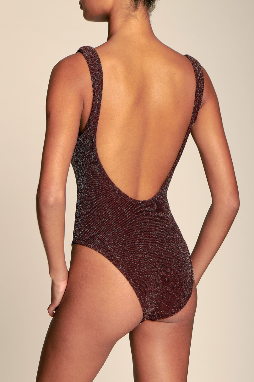 Classic Square Neck One Piece in Burgundy