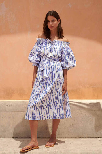 Cleo Midi Off Shoulder Dress in Blue and White