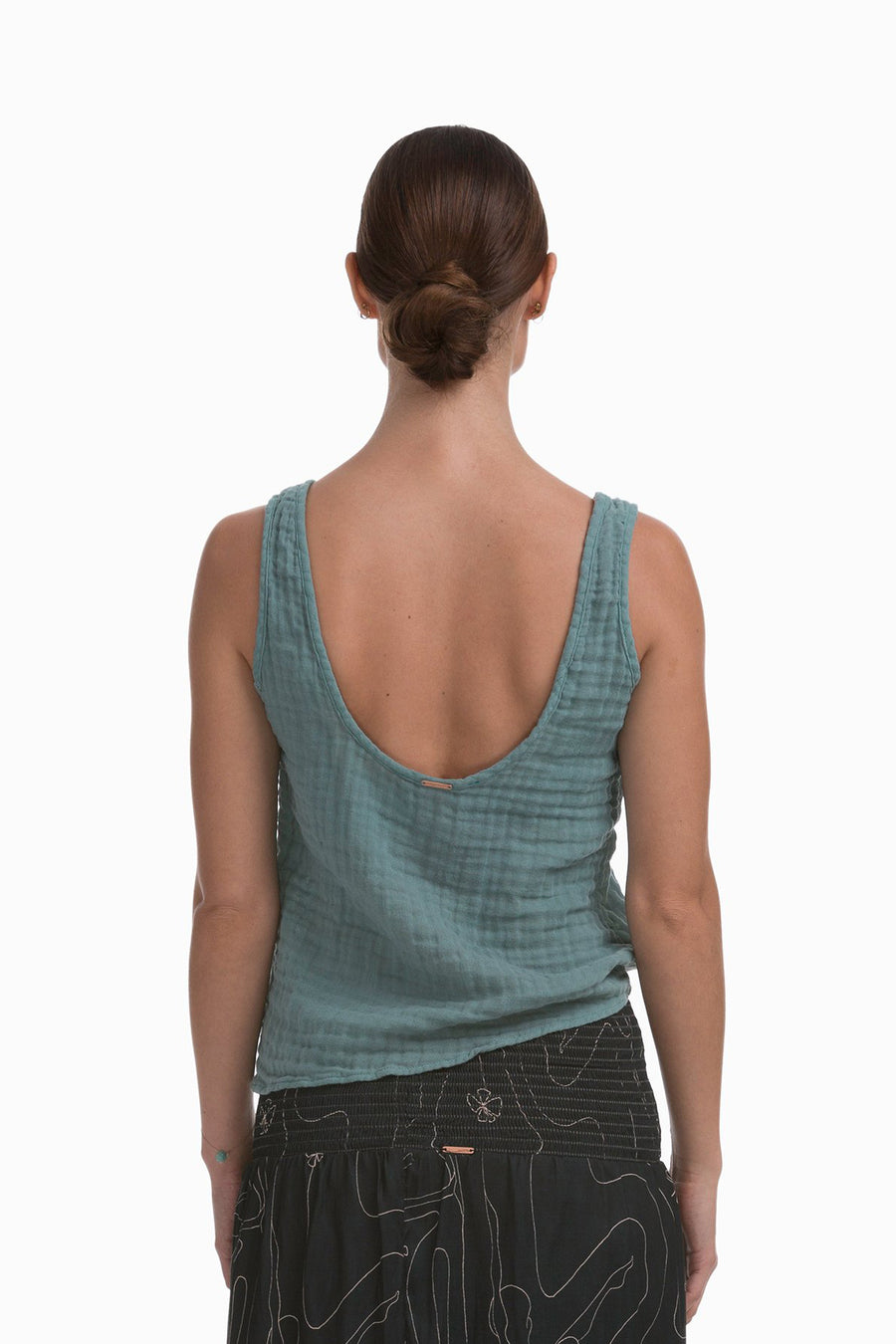 Cotton Matar Tank in Dusty Teal