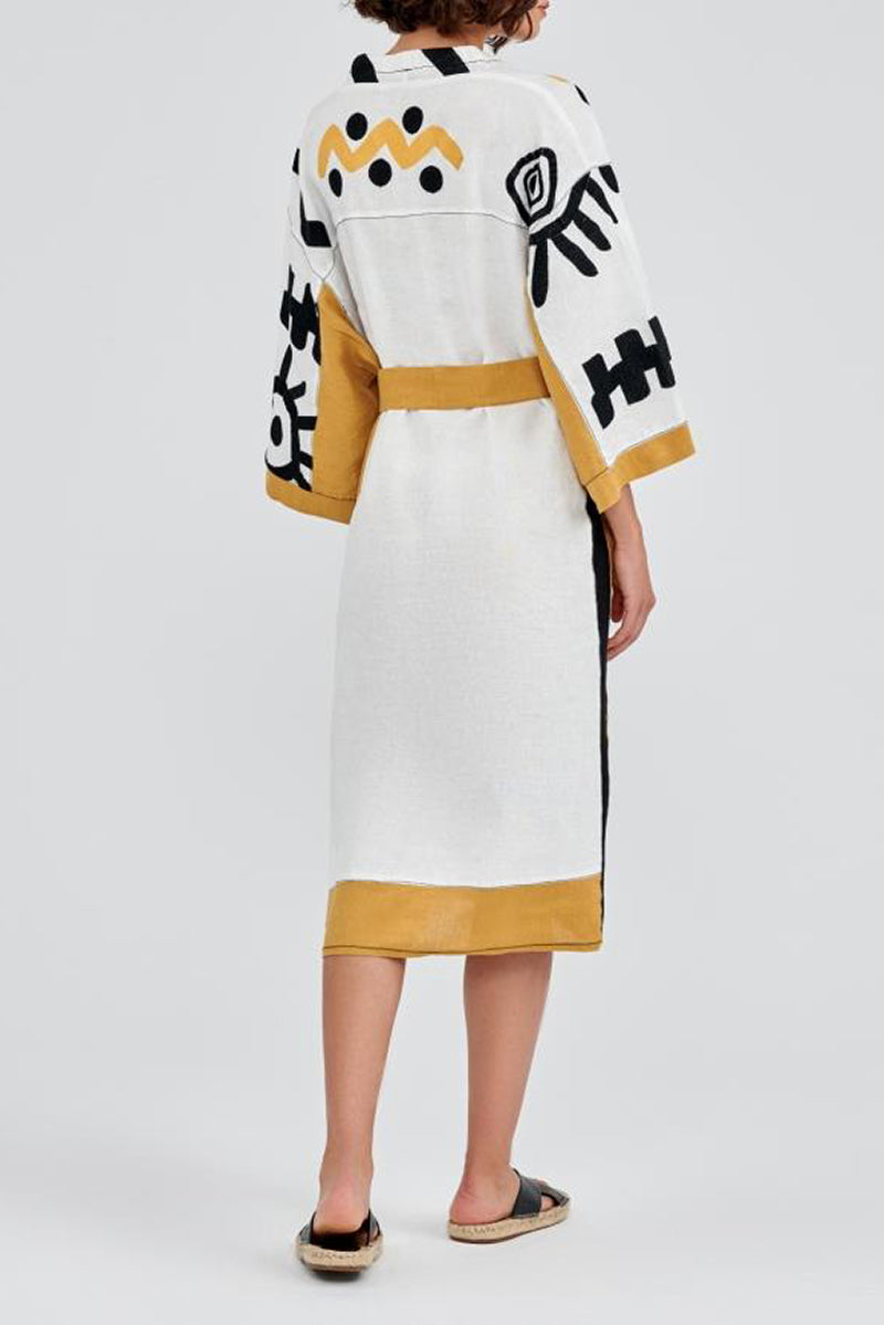 Eye Sun Linen Midi Dress in White, Black and Mustard