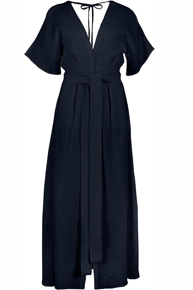 Ines Open Back Maxi Dress in Navy