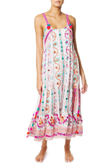 Cotton tribal Maxi Dress with Tassels in White and Jade