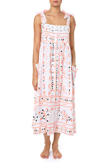 Cotton Print Shoulder Tie Nomad Dress in White and Neon Red