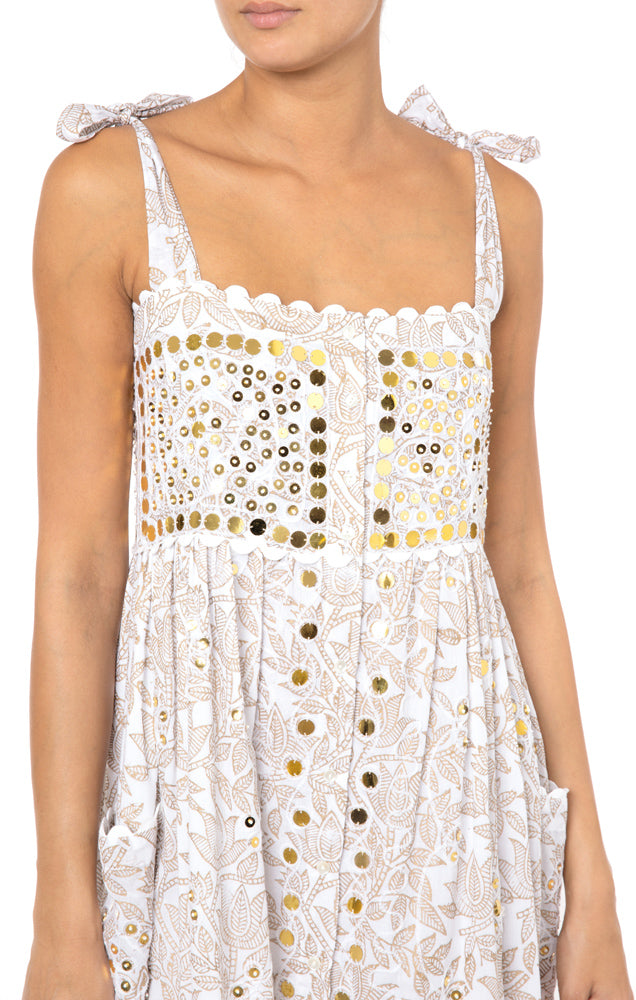 Cotton Block Print Dress with Pailette Embroidery in White and Gold