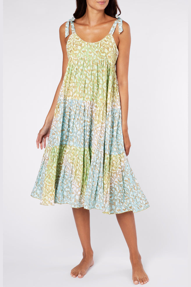 Tie-dye tiered sundress in green and turquoise snow leopard