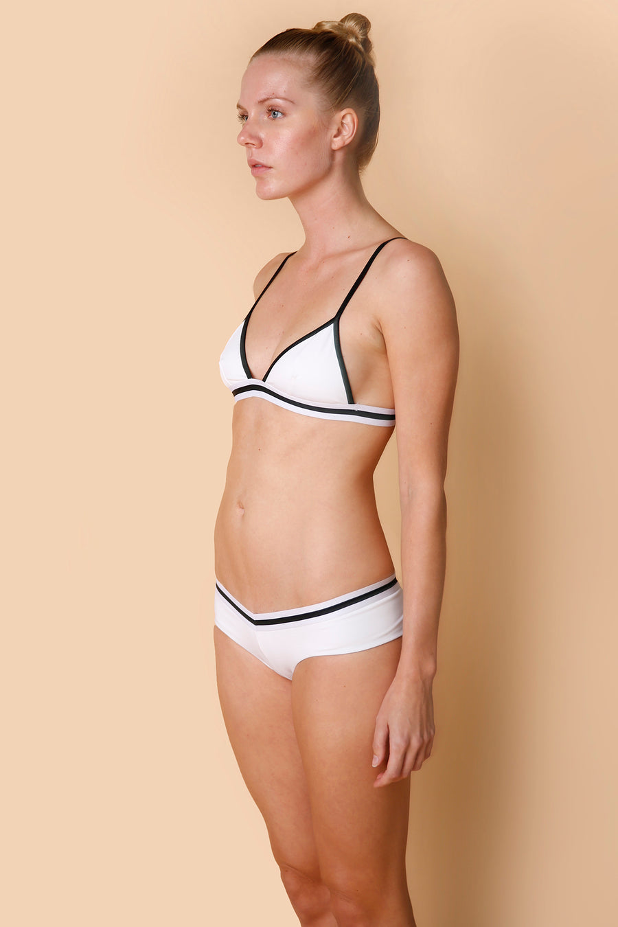 Lyra Bikini Top in White with Black/White Elastic
