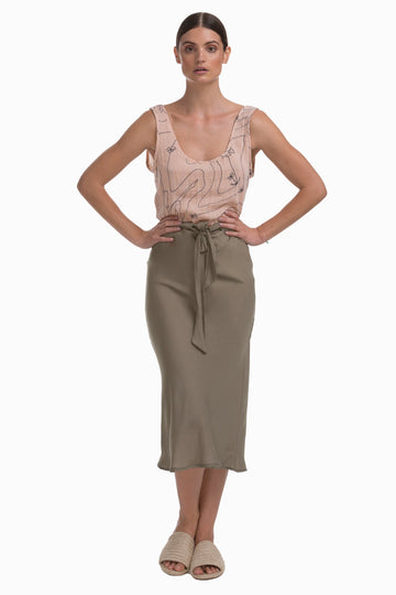 Silk Uniform Skirt in Olive