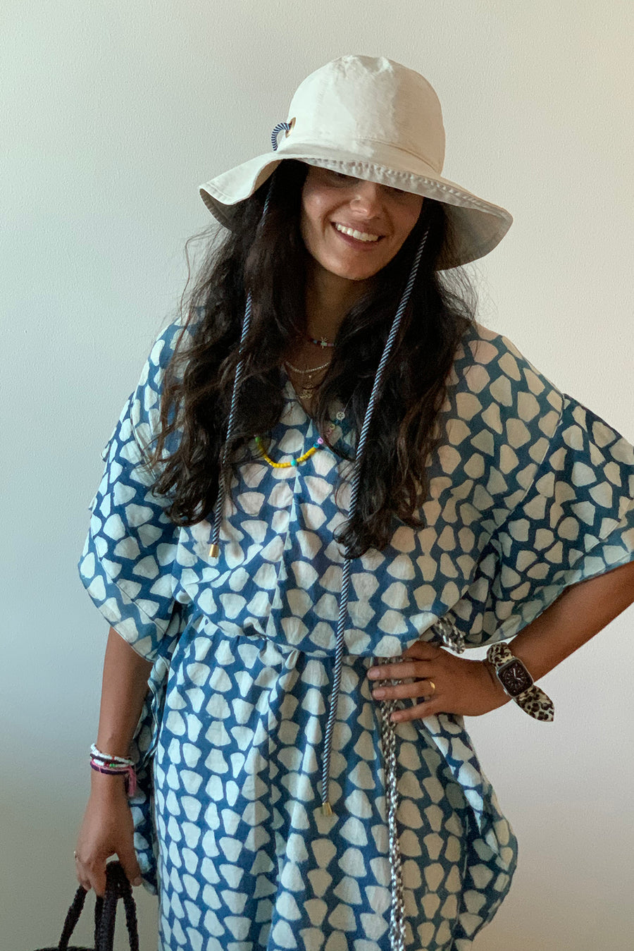 Bali Dress in Indigo Fan Block Print