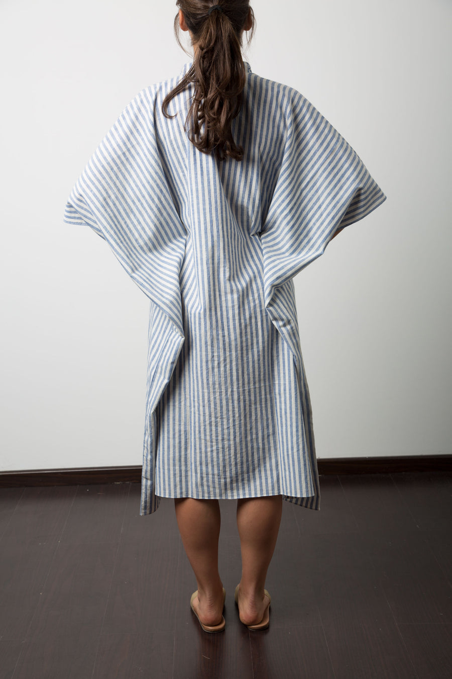 Disha Dress in Blue and White Stripe