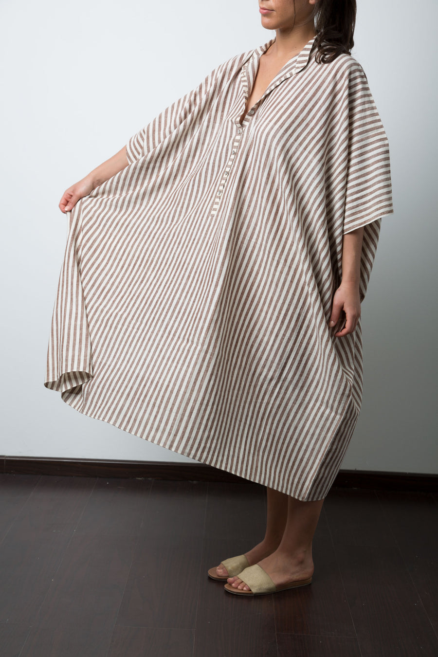 Disha Dress in Brown and White Stripe