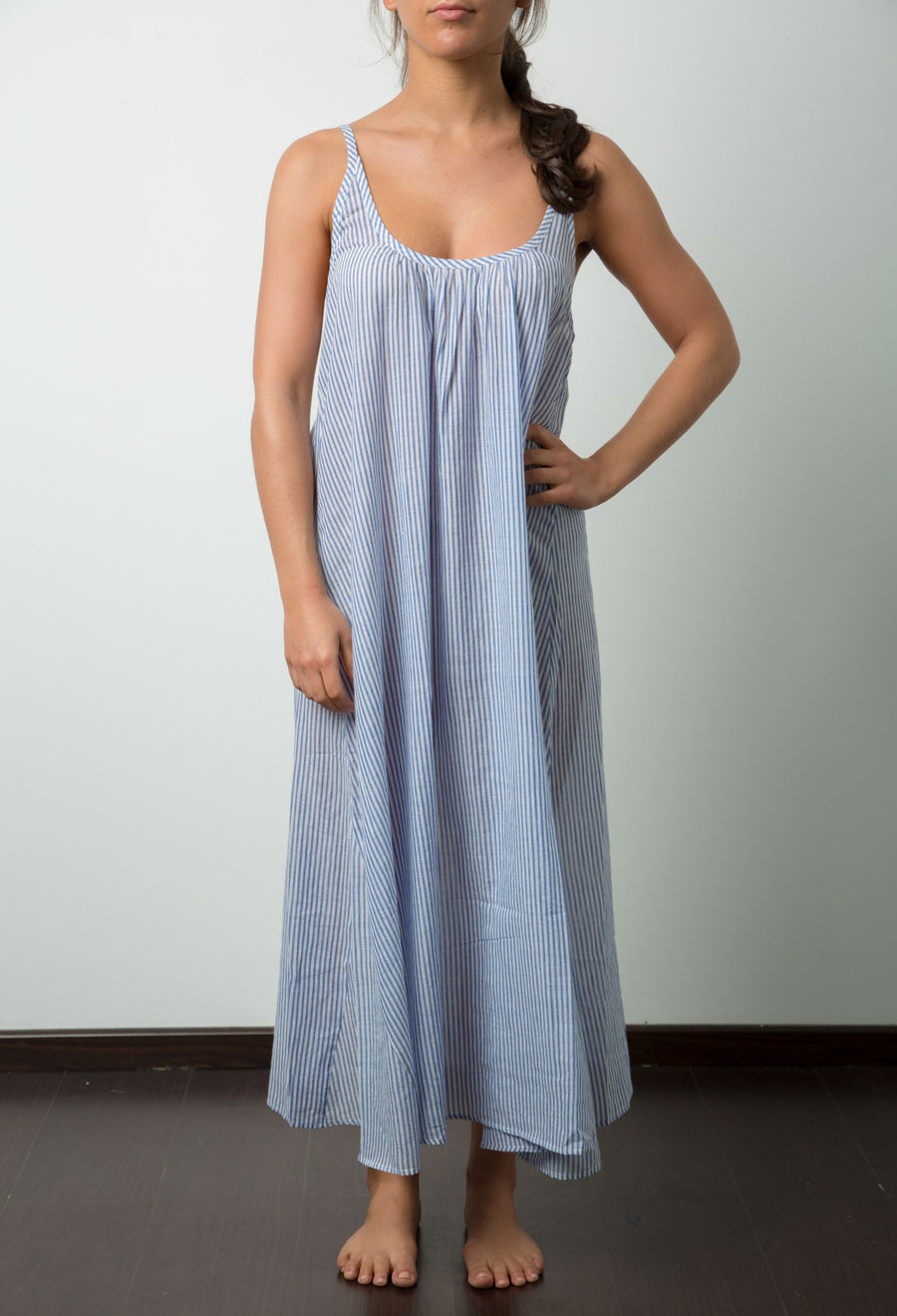 Doel Slip Dress in Blue and White Stripe
