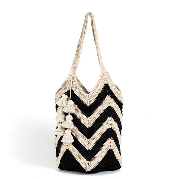 Maya Crochet Tote Bag in Black with Tassel
