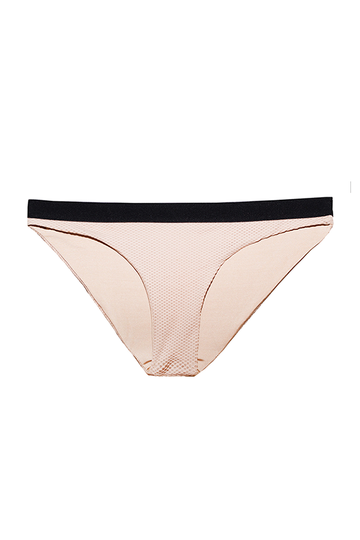 Pandora Bikini Bottoms in Nude with Black Elastic