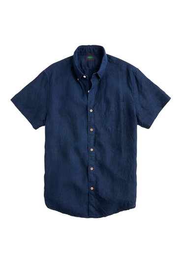 Short Sleeve Linen Shirt in Navy
