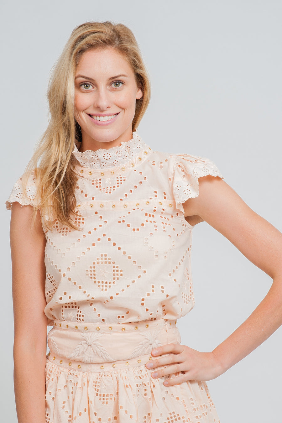 Grand-Terre Lace Pinafore Dress and Le Pilou Lace Smoke Top in Nude