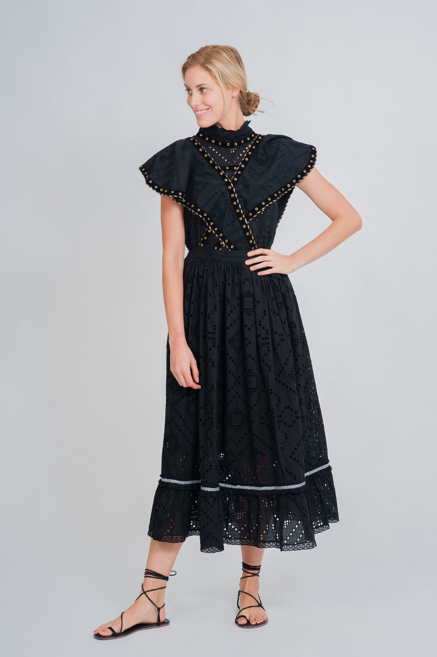 Grand-Terre Lace Pinafore Dress and Le Pilou Lace Smoke Top in Black