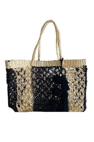 Macrame Tote Basket in Black and Cream
