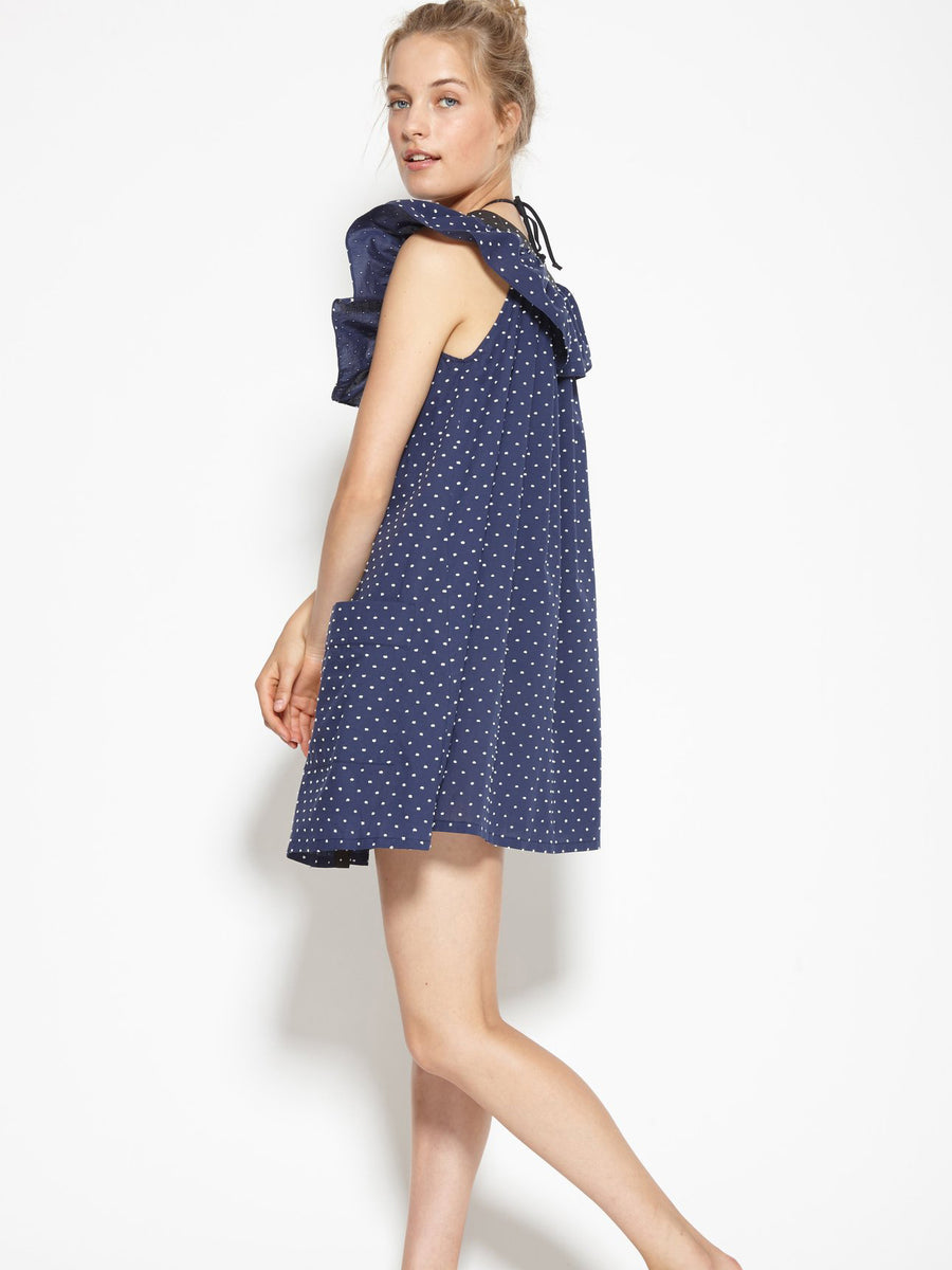 Majorca Smock Dress in Mirtillo with Black Dot