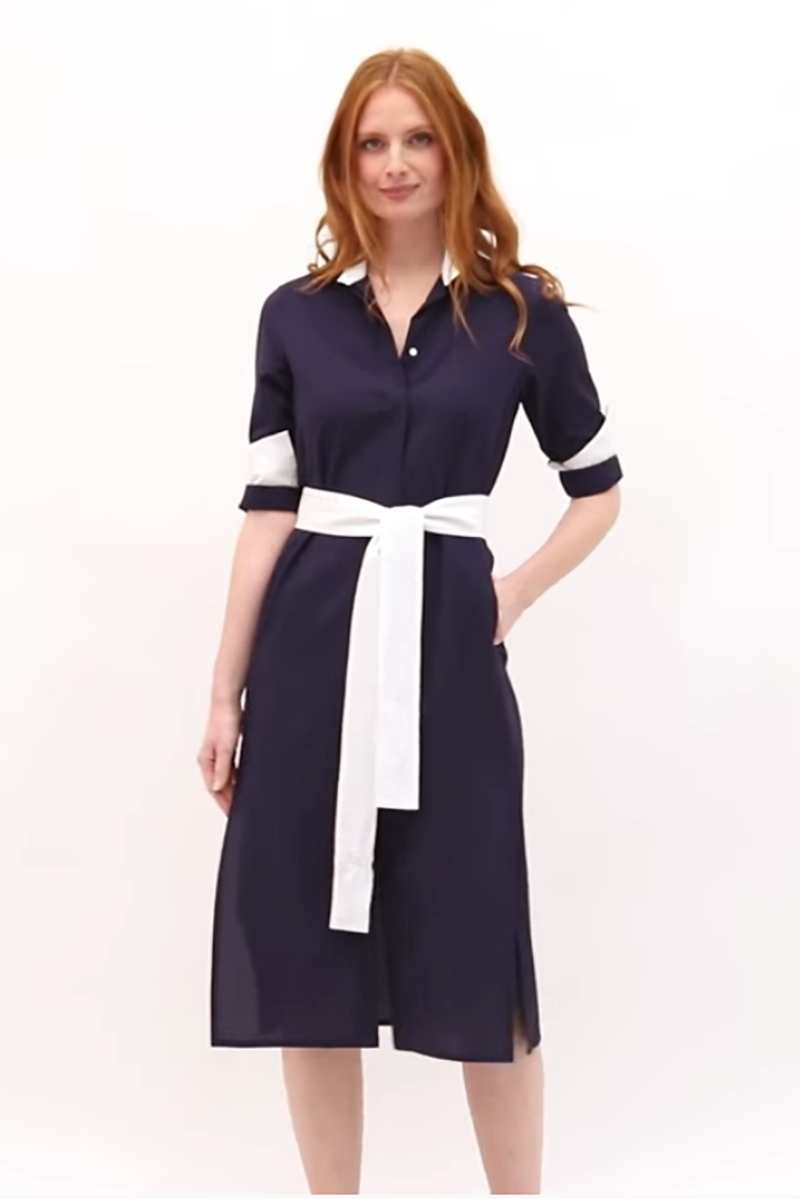 Vanessa Seersucker Dress in Navy Blue