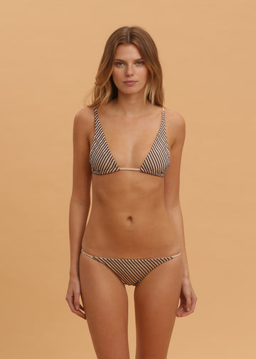 Tucana and Halley Bikini in Navy Stitch on Nude Shimmer