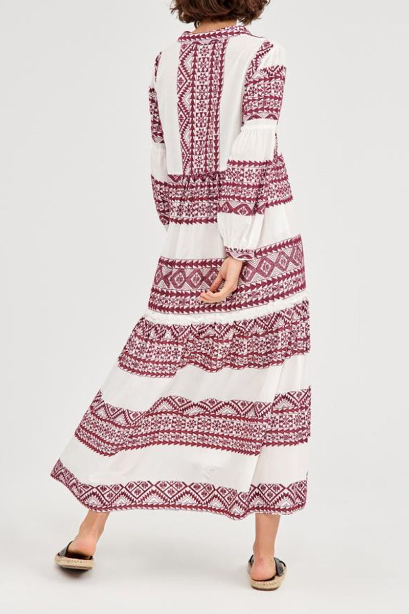 Triangle Cotton Midi Dress in White and Bordeaux