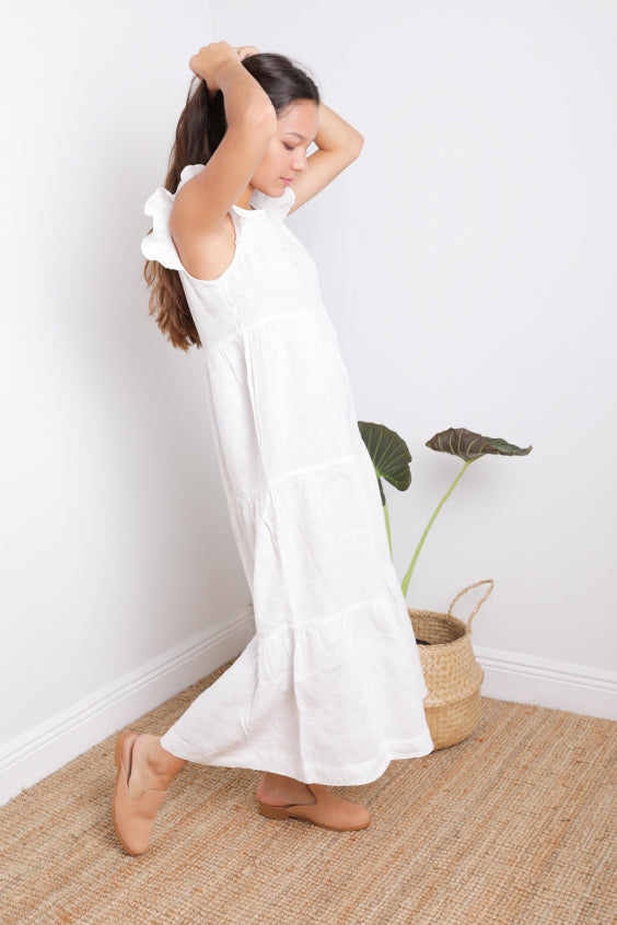 Magic Long Tiered Dress in White Linen