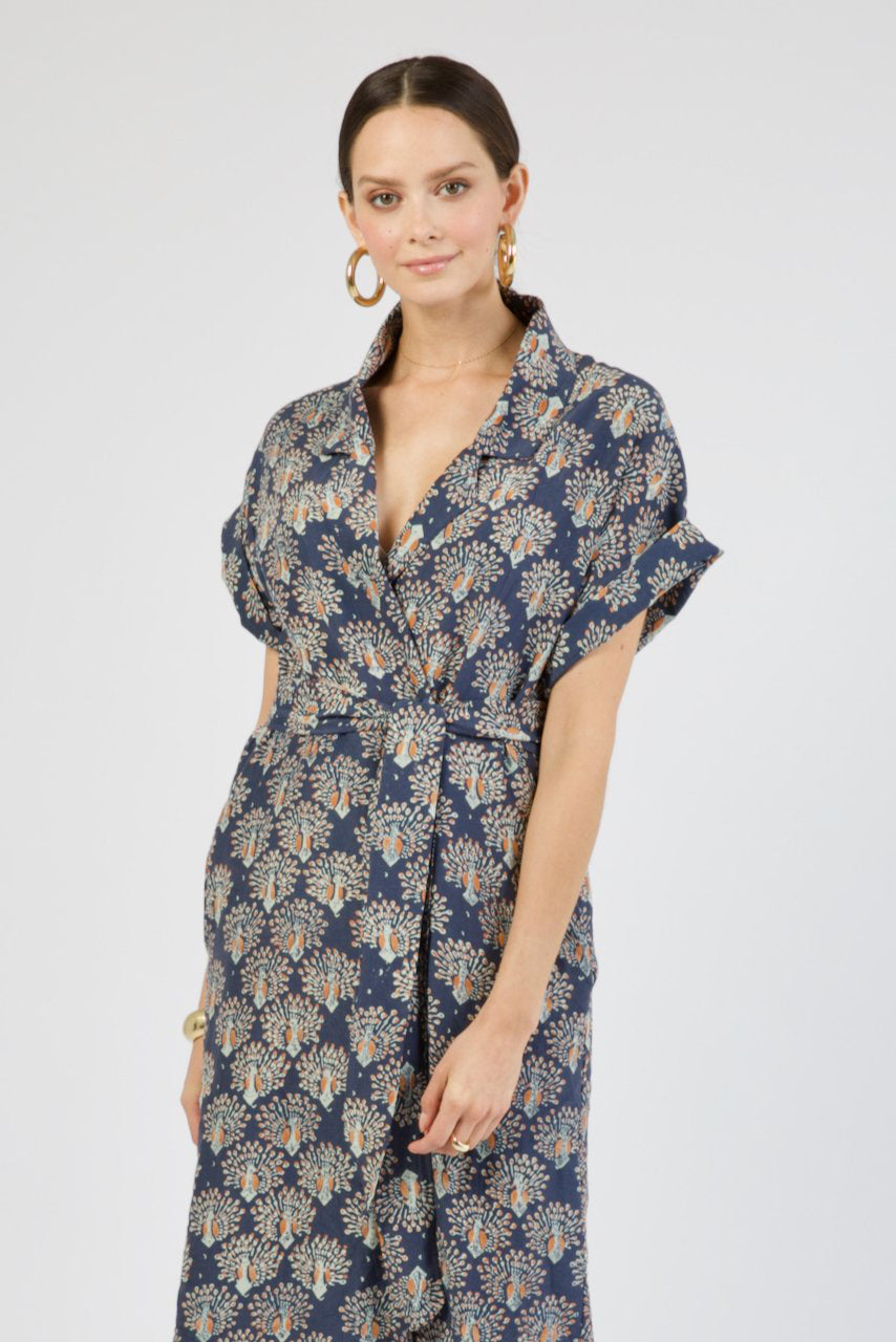 Mendoza Dress in Navy Peacock