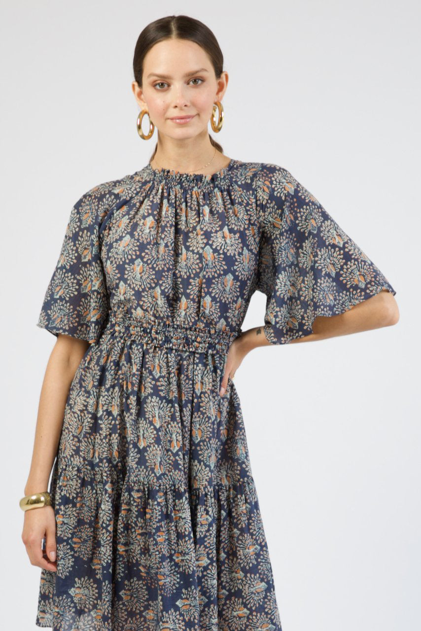 Vienna Dress in Navy Peacock