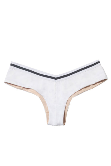 Altair Bikini Bottoms in White with Black/White Elastic