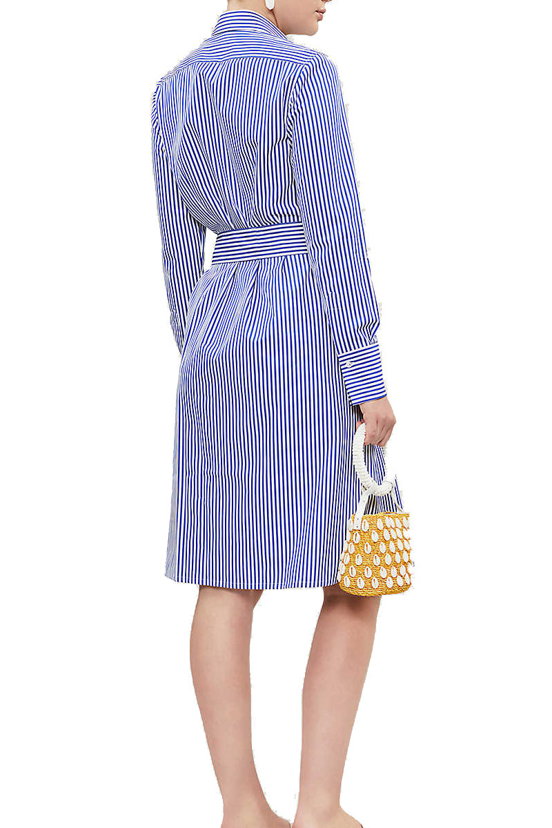 Victoria Cotton Linen Dress in Classic Blue and White Stripe