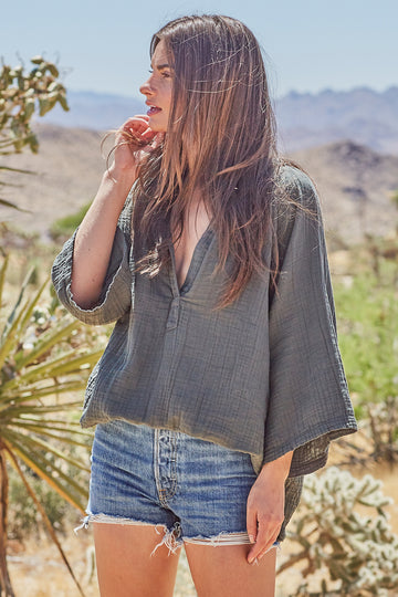 Marrakesh Dashiki Top in Military Green