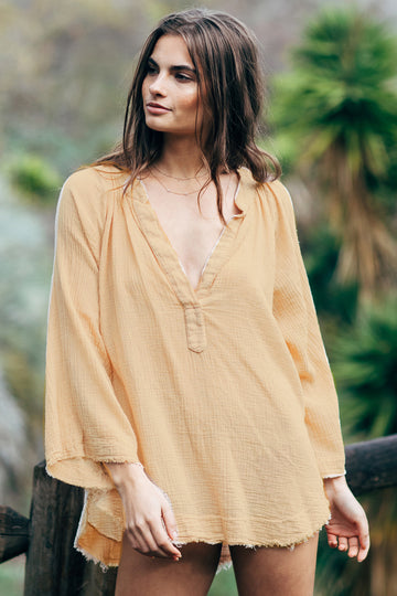 Marrakesh Dashiki in Lightweight Gauze in Sand