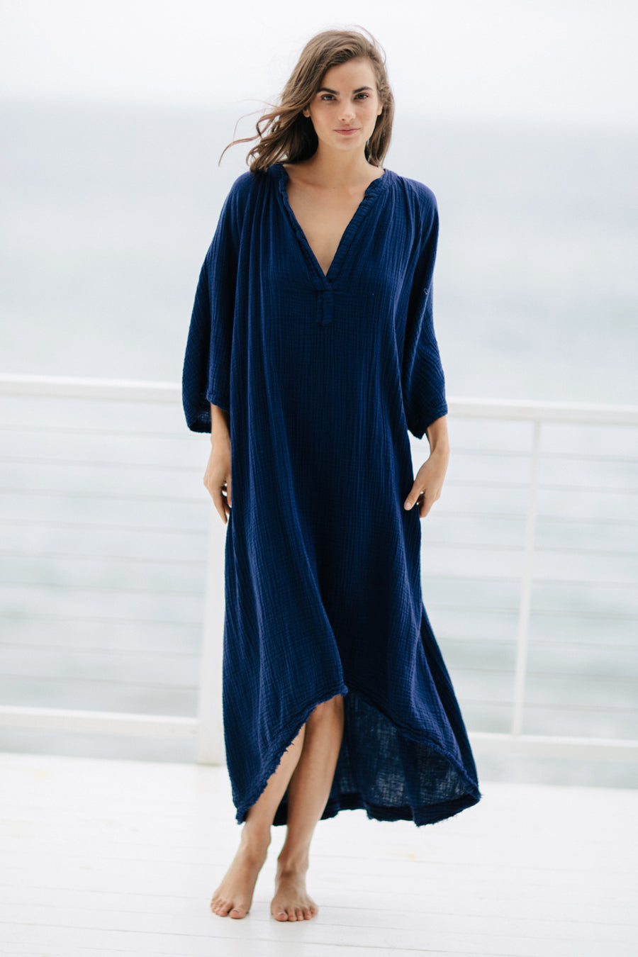Tangier Double Gauze Caftan in Pacific