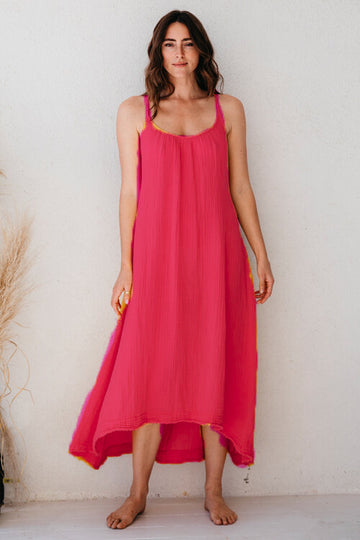 Tulum Lightweight Gauze Maxi Dress in Passion