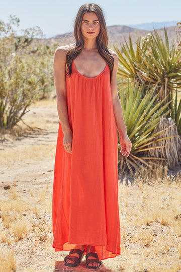 Tulum Core Cotton Maxi in Dahlia
