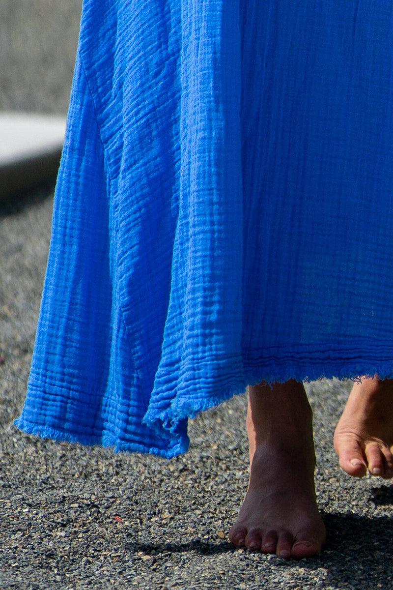 Tulum Lightweight Gauze Maxi Dress in Moroccan Blue