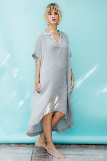 Tunisia Lightweight Gauze Cotton Caftan in Pebble