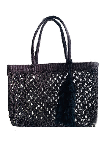 Macrame Tote Basket in Black