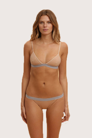Lyra Top and E-crux Bottom Two Piece Bikini in Sweatshirt Grey