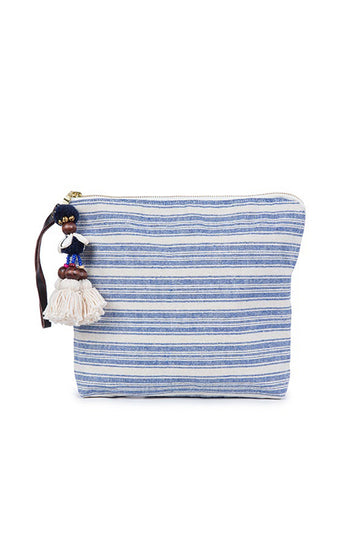 Sabai Clutch in Indigo with Organic Pom Pom tassel