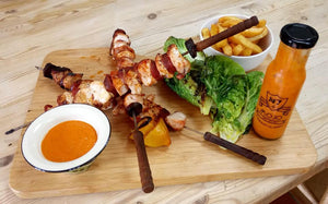 Chargrilled chicken and chorizo kebabs