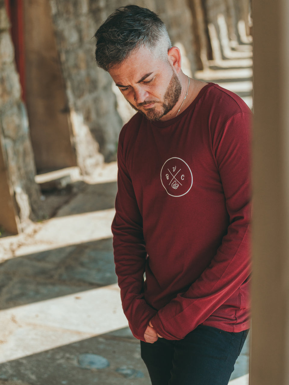 Long Sleeve Burgundy Icon Shirt