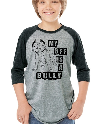My BFF is a Bully Youth Baseball Raglan Tee