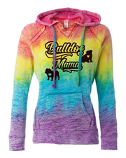 Bulldog Mama Women's English Bulldog Rainbow Burnout Hoodie