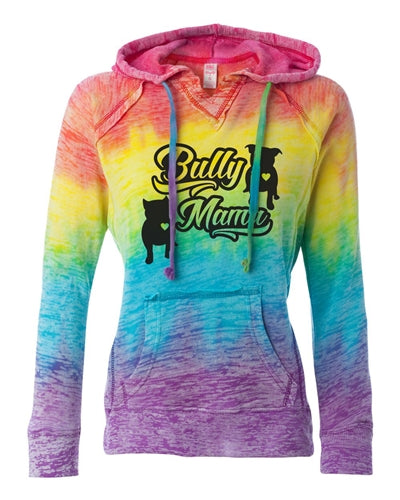 Bully Mama Women's Pitbull Rainbow Burnout Hoodie