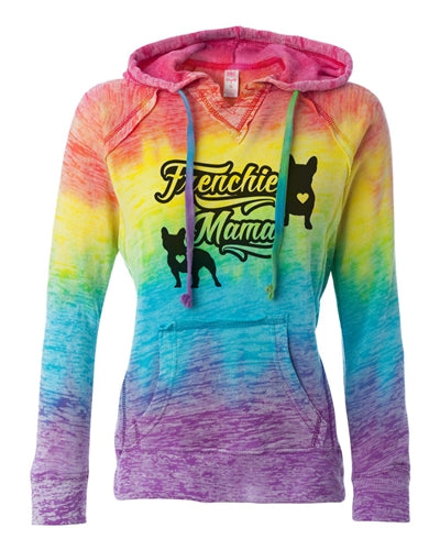 Frenchie Mama Women's French Bulldog Lovers Rainbow Burnout Hoodie