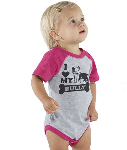 I Love My Bully V.2 Raglan Sleeve Baby Onesie