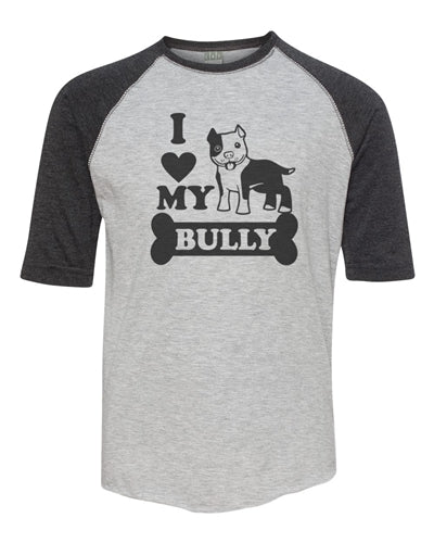 I Love My Bully V.2 Toddler Baseball Raglan Pink or Balck